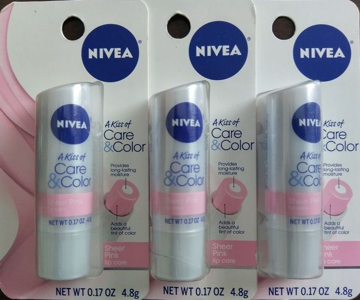 Lot of 3 nivea a kiss of care color sheer pink lip