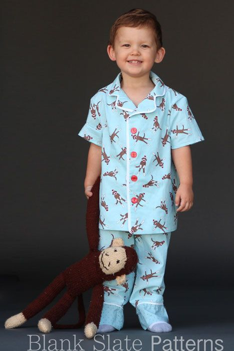 Lazy Day Pajamas PDF Sewing Pattern Boys Girls Toddlers Sizes 18m 2T 3T 4T 5 6 7 8