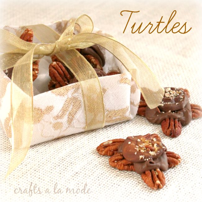 Chocolate turtles made with pecans and Rolos
