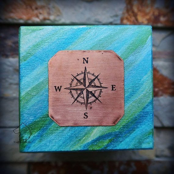 Compass Rose wooden box hand painted jewelry box