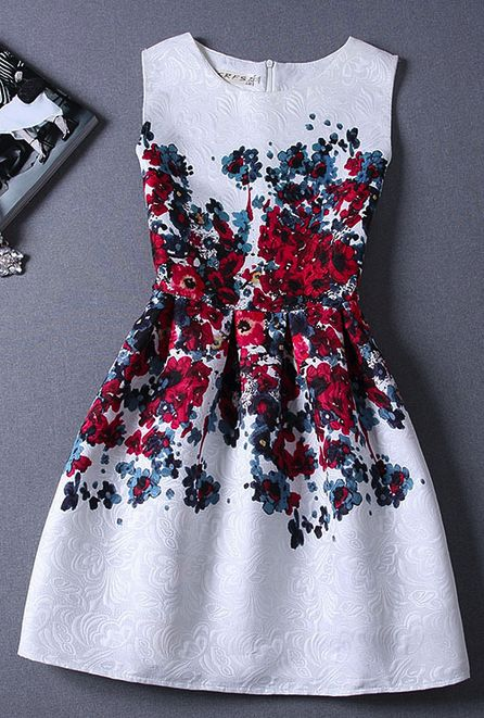 Slim sleeveless vest printed dress