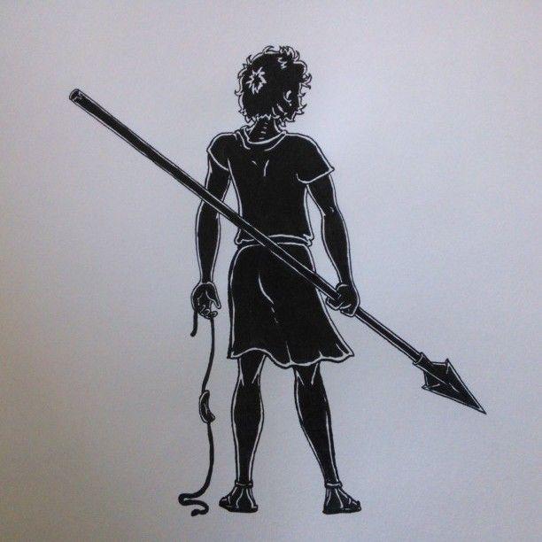 "David, the Giant Slayer. original drawing, taken from ""Aan Tafel Bijbel"" by Willemijn de Weerd, illustrated by me, published by Ark Media, the Netherlands"