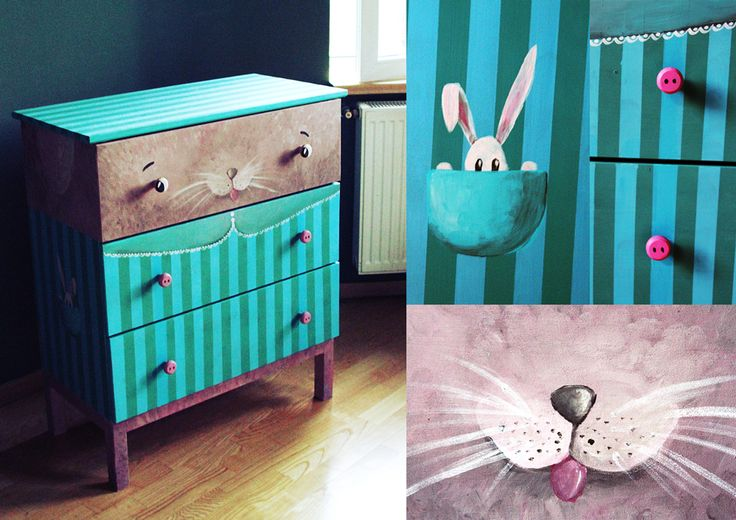 Cuteoshenie with whiskers.  Who else to guard your socks, scarfs or jewelry if not man's best friend? IKEA wooden dresser, hand painted and offered as prize in an IKEA raffle.