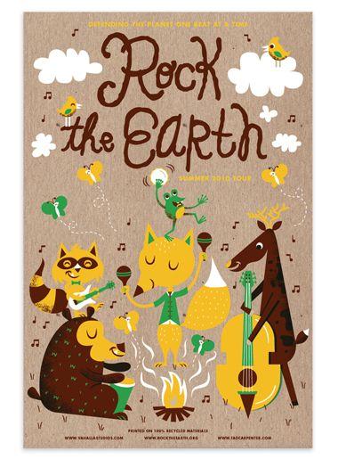 Jack Johnson & Rock the Earth by Tad CarpenterTad Carpenter, Earth Illustration, 10 Tadcarpenter Rte001 Jpg, Happy Animal, Art Design, Animal Band, Human Traits, Art Illustration, Earth Tad