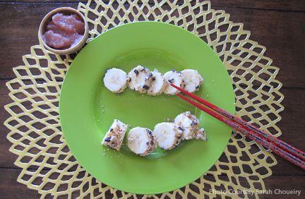 Banana Sushi - Good SnackCrushes Almond, Food, Berries Apples, Bananas Sushi, Bananas Rolls, Healthy, Cacao Bit, Kids, Apples Sauces