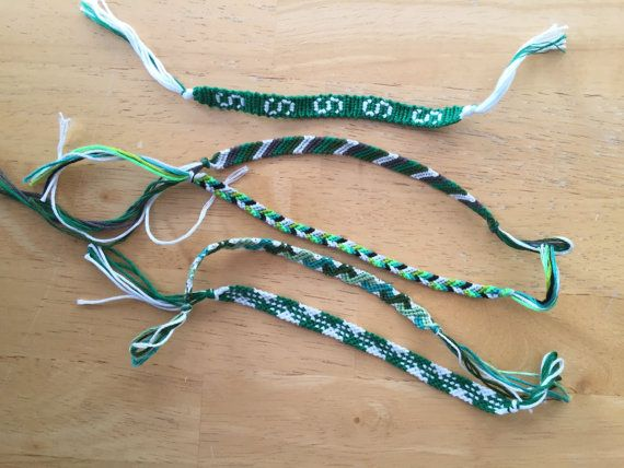 Handmade string bracelets! Pack of 5 green and white friendship bracelets, including one with a Block S! Great for gifts for your favorite