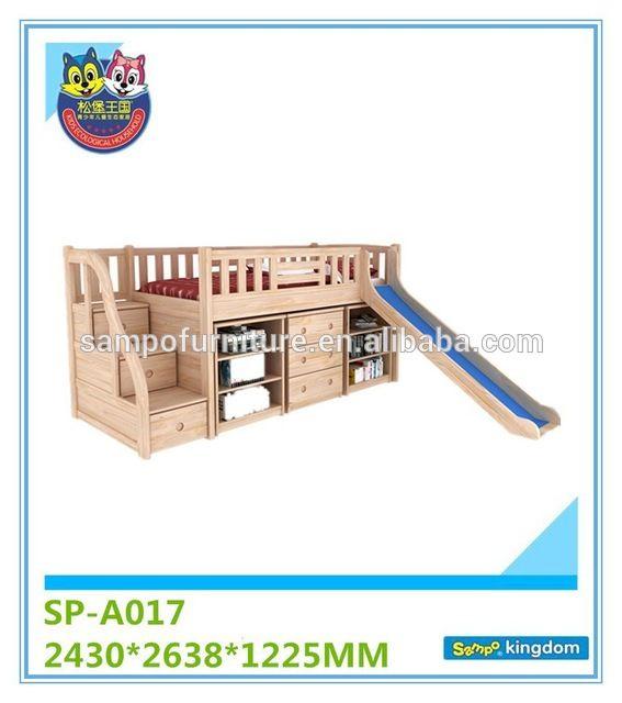 Source Bedroom furniture set kids cheap wooden bunk beds with slide for sale on m.alibaba.com