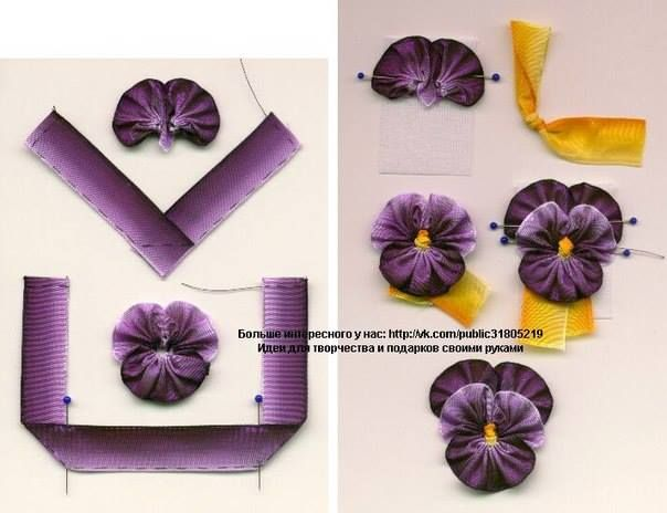 french wire ribbon pansies