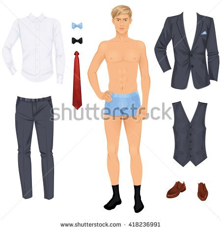 Handsome young blonde man with clothes, prom or wedding suit, paper doll. Vector illustration.