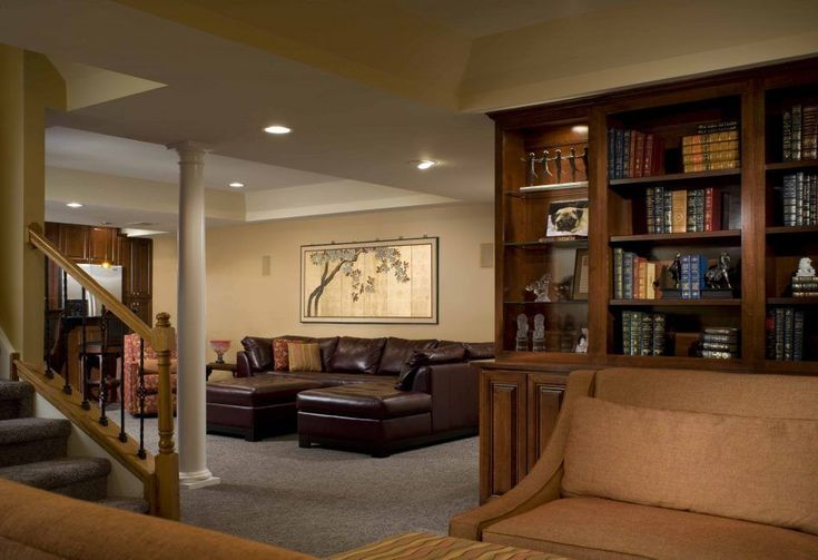Basement Brown Leather Furniture Sofa Sets Basement Finishing Ideas With Upholstered Sofa And Wood Bookshelves Above Large Soft Carpet Floor Beside Wood Stairs Functional Basement Finishing Ideas