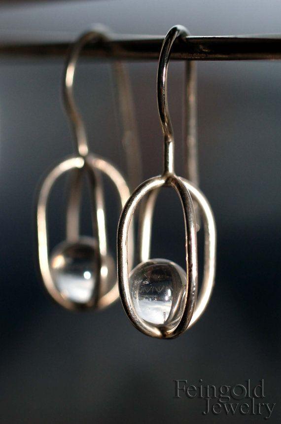 Collection de gravité : argent Sterling boucles d'oreilles avec cristaux - intérieur gratuit expédition de flottement