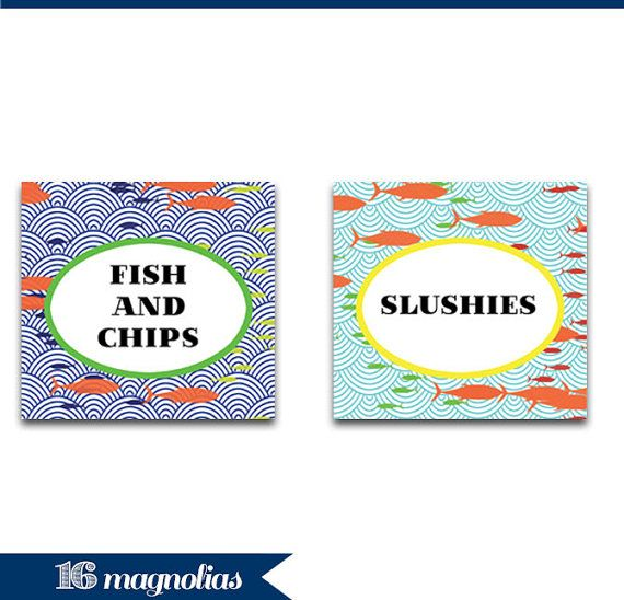 Turtle and Fish Nautical Party Food Tents - Digital Printable Party Decorations