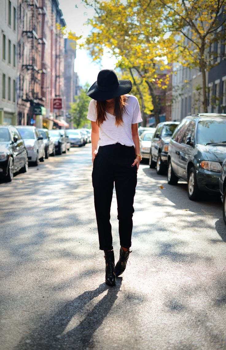 Danielle Bernstein wearing @asos.com high waisted trousers & hat, atm tee, and @Burberry booties! @weworewhat