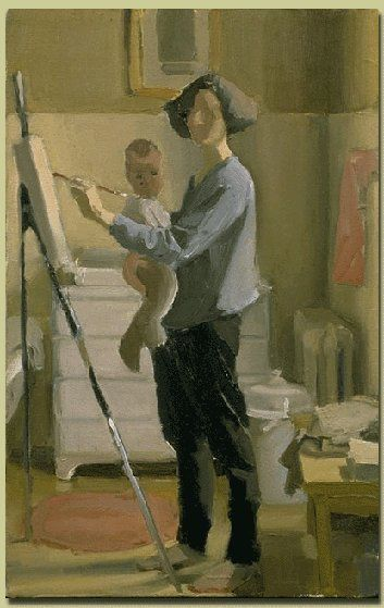 Katy Schneider with Olive and Easel, 1998