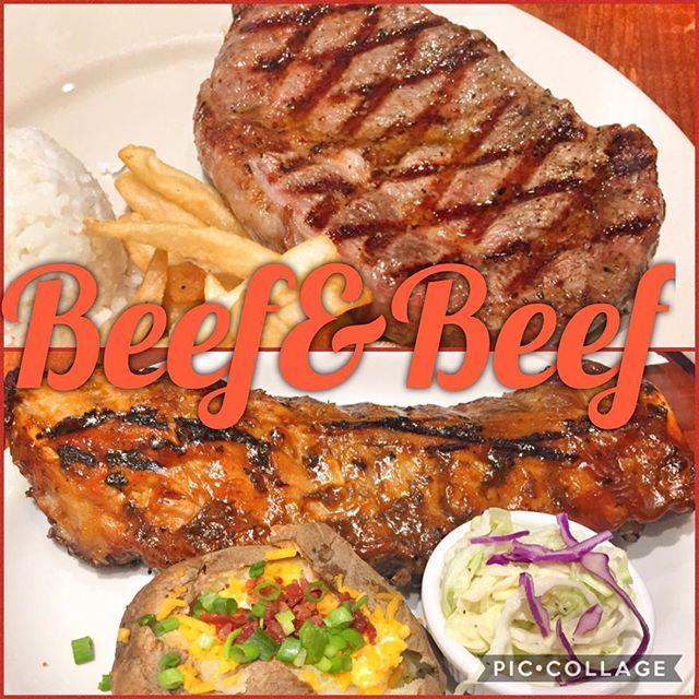 肉&肉🍖  #肉 #beef #beer #ステーキ #beach #ビーチ #旅行 #steak #スペアリブ #ランチ #travel #コールスロー #サラダ #salad #ポテト #guam #american #アメリカン