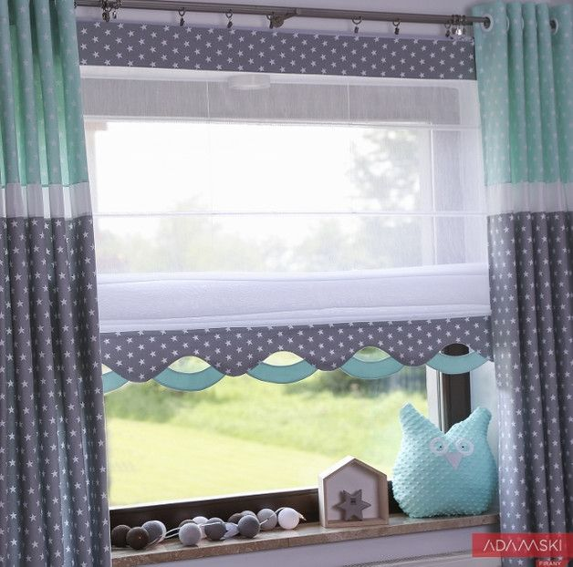 Kids Wave Roller Blind Grey Mint Any Size Firany W