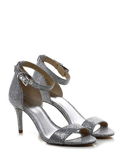 Michael Kors - Sandalo alto - Donna - Sandalo alto in tessuto glitterato con cinturino alla caviglia e suola in gomma. Tacco 80 rifinito. - SILVER - € 140.00