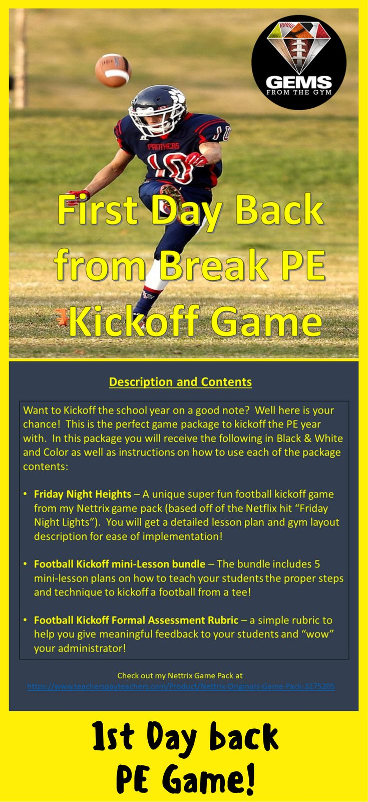 No need to panic for a lesson plan on your first day back from Holiday Break!  I've got you covered!  It is football season playoff time!  Physical Education / Physical Education Games / Games / Warm-up Games / Elementary / PE / Skills / Posters / Bulletin Boards / Unity / Assessment / Rubrics / Rubric / Lesson Plans