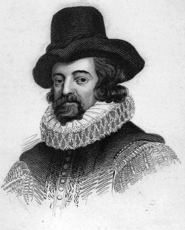 """francis bacon. -> francis bacon is geboren op 22 januari 1561 in londen en is gestorven op 9 april 1626 in highgate -> wetenschap is een gevoel. -> """" menselijke dwaling"""". -> 4 punten die het bewustzijn vertroebelden: 1. hartstocht 2. aanleg + opvoeding 3. spraakverwarring 4. ideeën van andere filosofen. ->Bacon werkte tussen 1613 en 1619 aan verschillende stukken die bedoeld zijn voor The New Organon. hier deed hij aan inductie."""