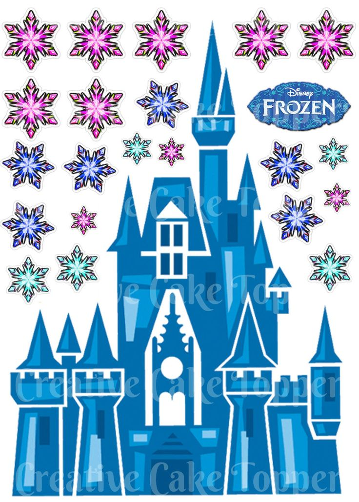 Edible Disney FROZEN CASTLE Princess Snowflake Stand ups Birthday Cake Topper | eBay