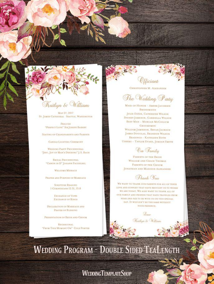51 best Wedding Programs DIY, Tea Length Slim Printable Templates ...