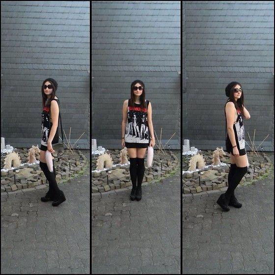 New Look Studded Wedges, 123 Ramones Tank Top, Overknees, Primark Bag, H&M Beanie, Pastel Pink Faux Foxytail
