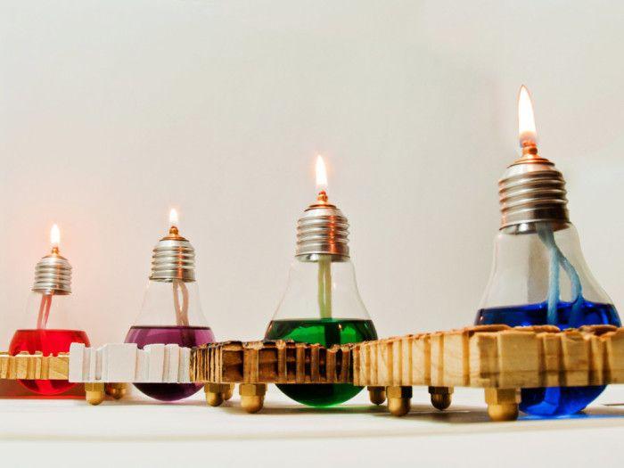 #riciclare le vecchie lampadine - lampade ad olio