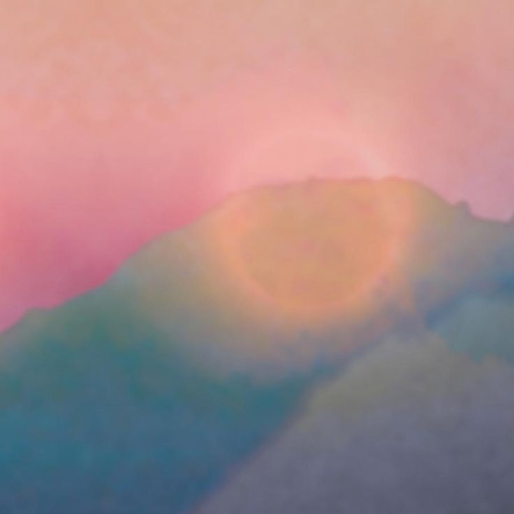 A landscape with mountains during sunset - detail
