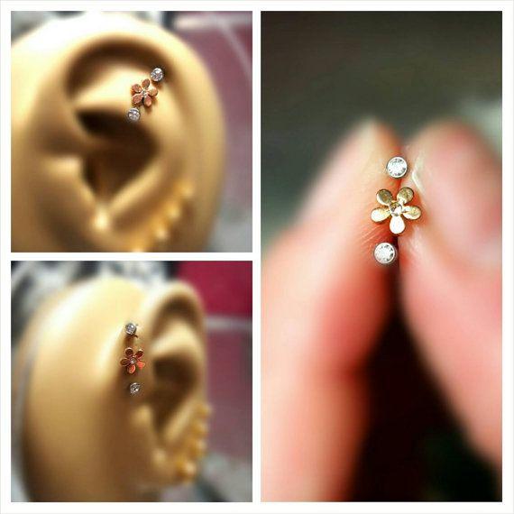 Gold 5 Pedal Clear CZ Flower Tragus Cartilage Earring Forward Helix Triple Stud Lip 16G 18G Piercing Bar Barbell Sugical Steel Bioplast