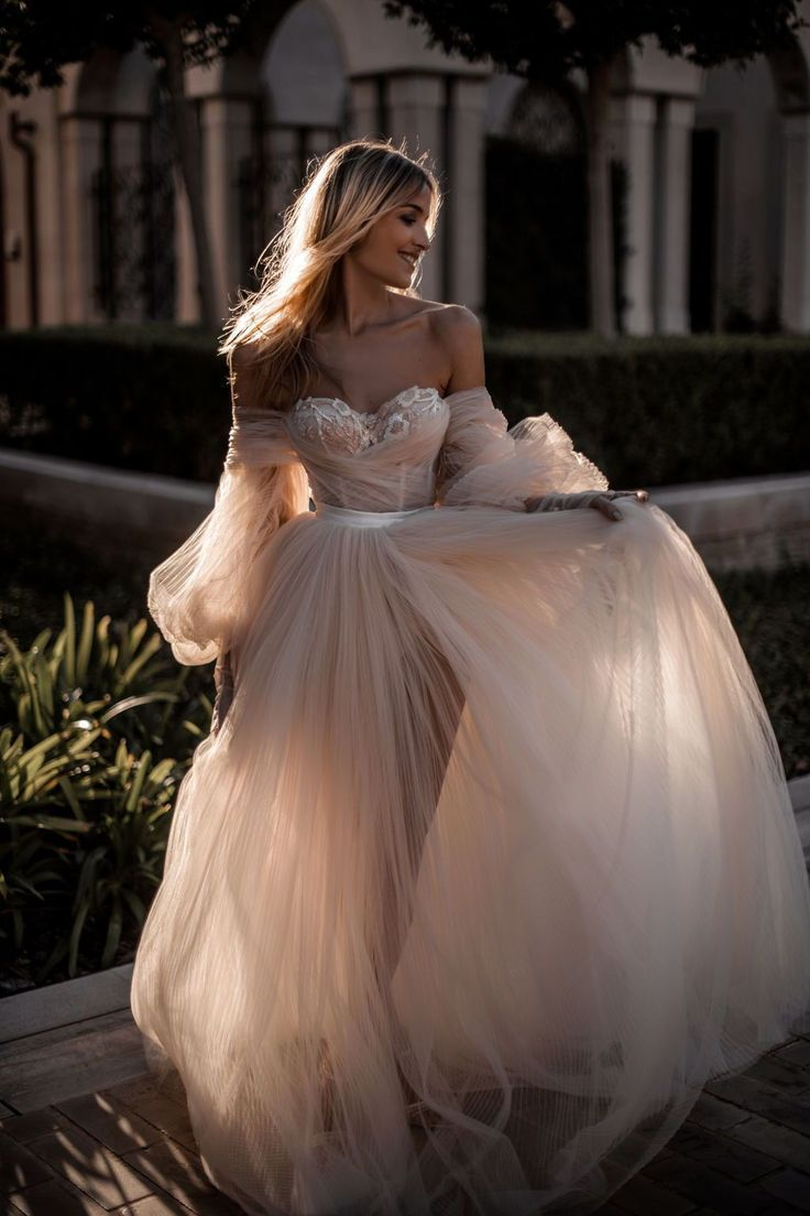 Incredibly Champagne Off the Shoulder Tulle Wedding Dresses,Long Sleeves Bridal Dress,Lace …