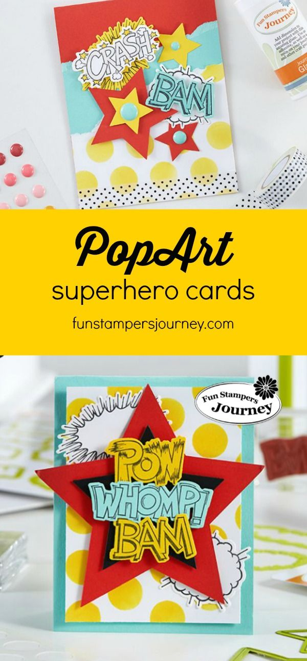 Create a bright and colorful handmade card with a pop art theme, featuring the Onomatopoeia Stamp Set from Fun Stampers Journey | superhero crafts #funstampersjourney | handmade cards and paper crafts for kids
