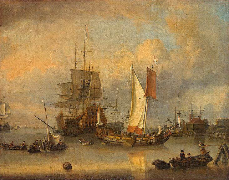 Ships at sea in calm weather, 17s,  Riesrshoof jan claesz, Dutch