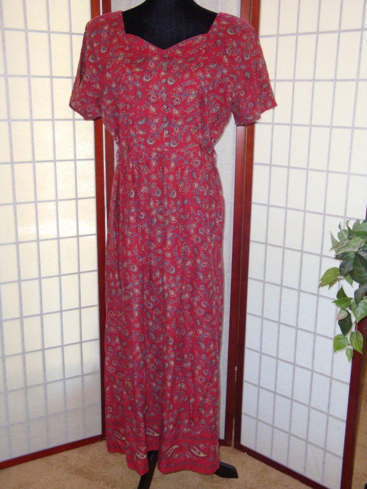 Vintage Dress - Red Dress - 1990's Dress - Erika Studio Dress - Long Dress - Size L -  Red Floral Dress - Maxi Dress - Boho Dress - Paisley by GiftGarbBags on Etsy