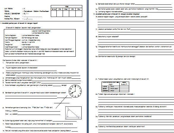 Dibawah ini adalah file yang berisi Contoh Soal Tematik SD/MI Kelas VI Kurikulum 2013 Tema 2 Persatuan dalam Perbedaan Format Microsoft Word.