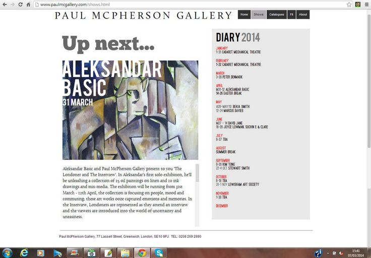 http://www.paulmcgallery.com/shows.html  Exhibition: The #Londoner &The #Interview from Mar 31 - 12 Apr @ Paul McPherson Gallery by #AleksandarBasic #alexbasic