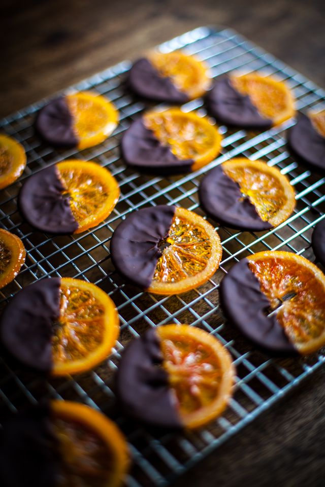 Chocolate Dipped Candied Oranges with Sea Salt...A simple festive treat. | DonalSkehan.com