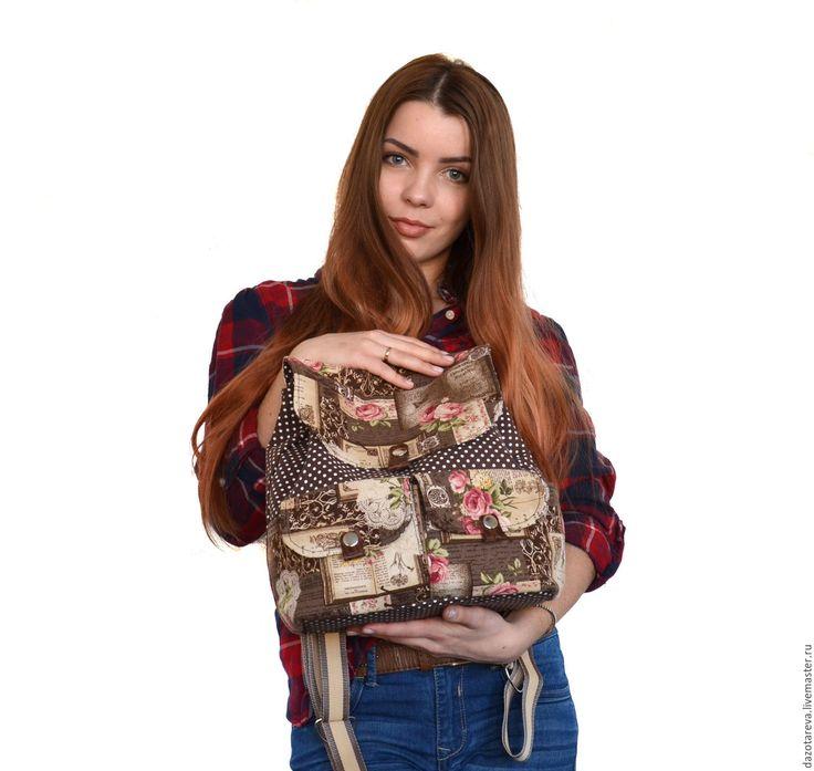 Купить Рюкзак женский Горох - в горошек, коричневый, рюкзак, жеский рюкзак, рюкзак женский