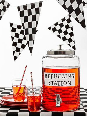 Race Car Birthday Party: A container with a tap and a fun sign lets thirsty kids fill 'er up.