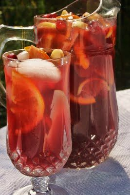 Holiday Sangria.  The best of what is available during the fall and winter holidays - cranberry, pomegranate, orange, apple, and of course a good white wine. Yummy!!