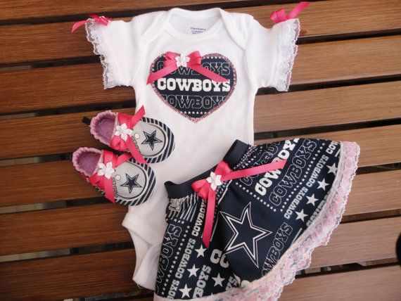 doodlesbabylicous makes this Dallas Cowboys tailgating outfit from  each item is made to order  Short sleeve white onesie brand is