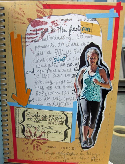 """The First Run"" page in a Smash Book created by Kim of Ontario, Canada."