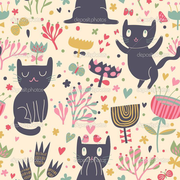 Romantiska tecknade tapet. barnslig bakgrund med roliga katter och blomma. Seamless mönster kan användas för bakgrundsbilder, skuggmönster, webbsida bakgrunder, ytstrukturer