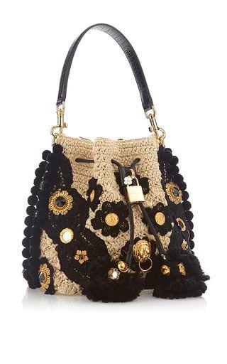 Claudia In Beige & Black Bucket Bag by DOLCE & GABBANA Now Available on Moda Operandi