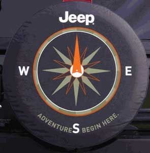 All Things Jeep - Adventures Begin Here Denim Tire Cover with Compass Design