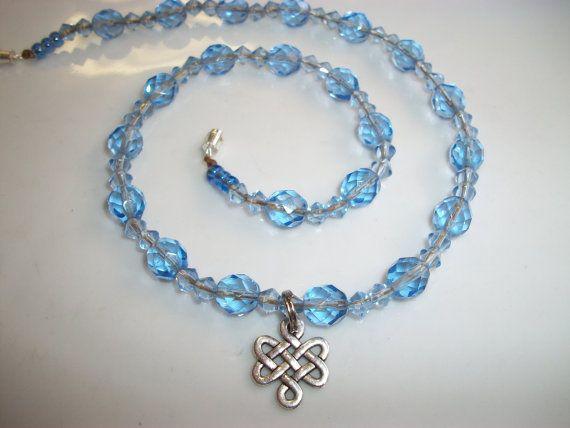 Keltische knoop van leven ketting 16 blauw Choker door Dare2beUNIQUE