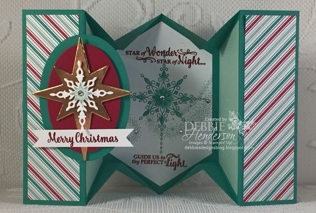 Watch my new video today showing you how to create this 5 Panel Fancy Fold Card. I used Stampin' Up! Copper Foil Sheets, Presents & Pinecones Designer Paper and the Star Of Light stamp set. Debbie Henderson, Debbie's Designs.