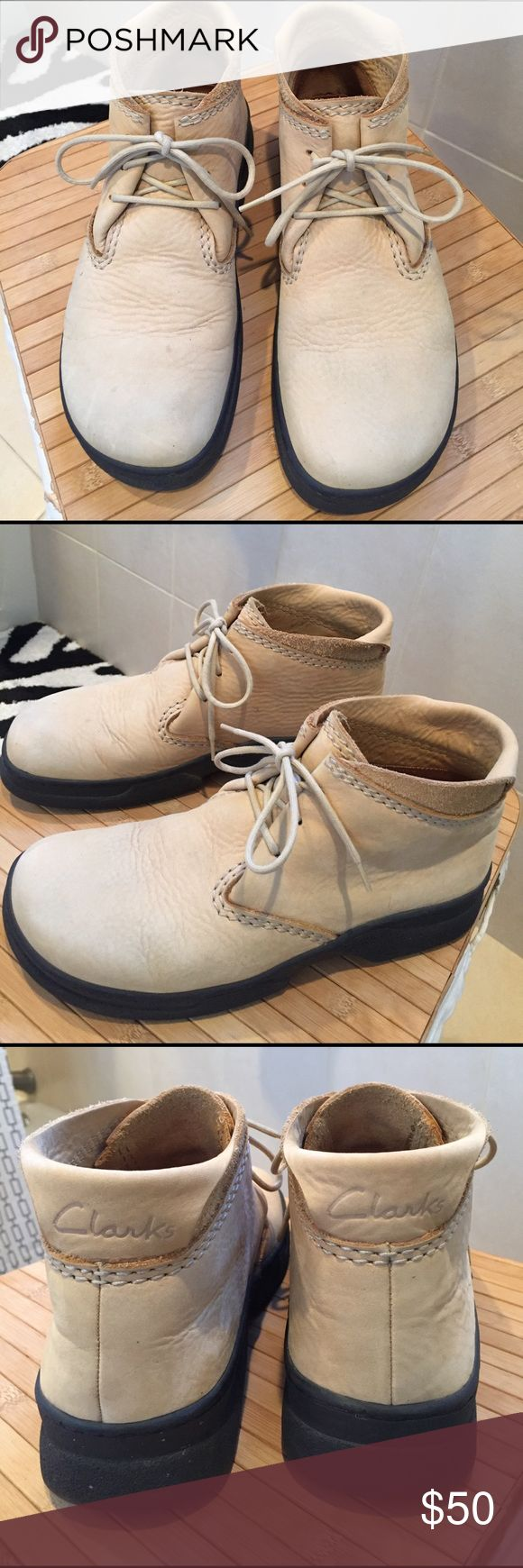 Men's Clarks Wallabee Style Walking Shoes These pair of Clarks are in great condition. Soles are very good. They are Wallabee style ankle booties. Great for walking,traveling, all Suede and leather. Clarks Shoes