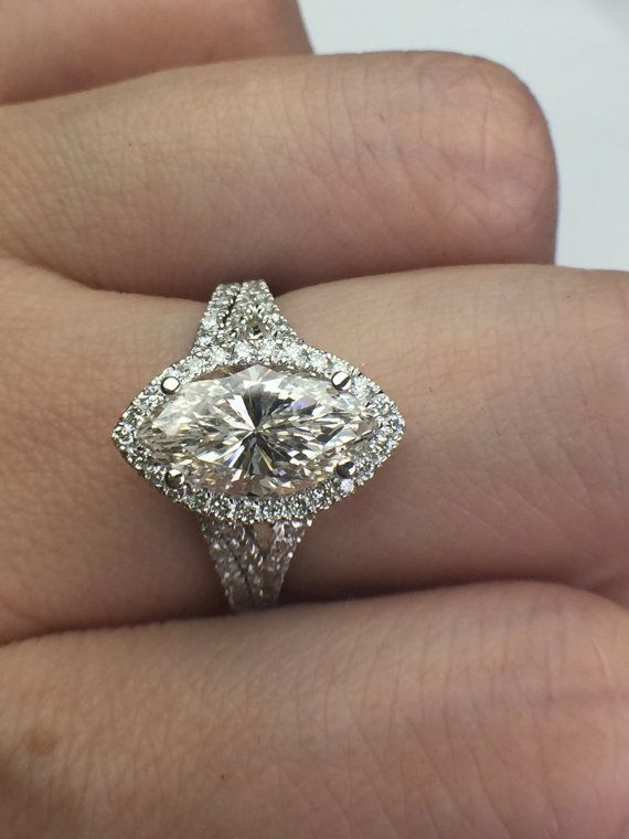 Moissanite 11x5.5mm Marquise Halo Diamond Wedding by NTBrilliant $1425 FAVORITE BUT NEED A BAND ON EACH SIDE