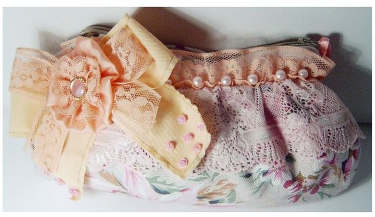 Borsa POCHETTE rosa beige PIZZO FIOCCO perle ROMANTICA shabby chic handbag SAC