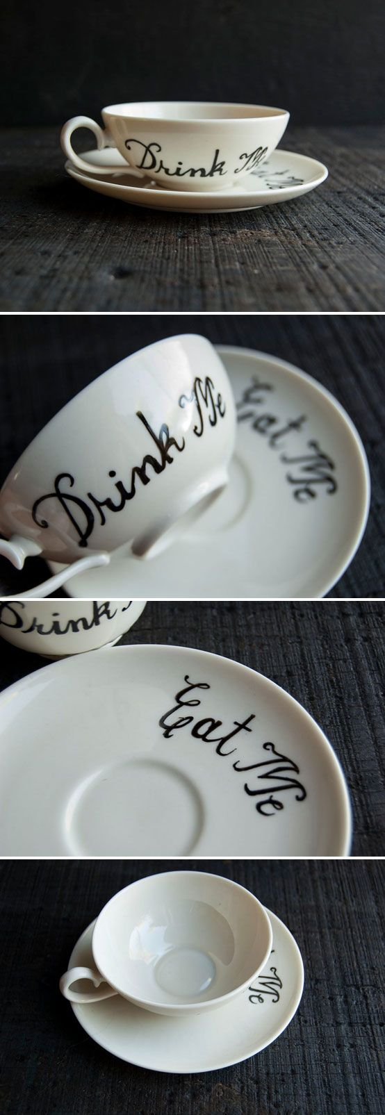 """Hand painted """"Drink Me"""" teacup w/ """"Eat Me"""" saucer... I've been looking for the perfect teacup & saucer to make myself a set! 